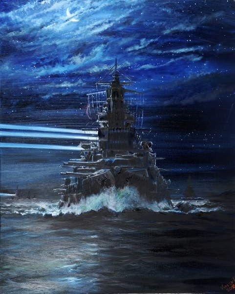 IJN Hiei and Akatsuki light up USS Atlanta, Guadalcanal 1942, 2018,  by Vincent Alexander Booth