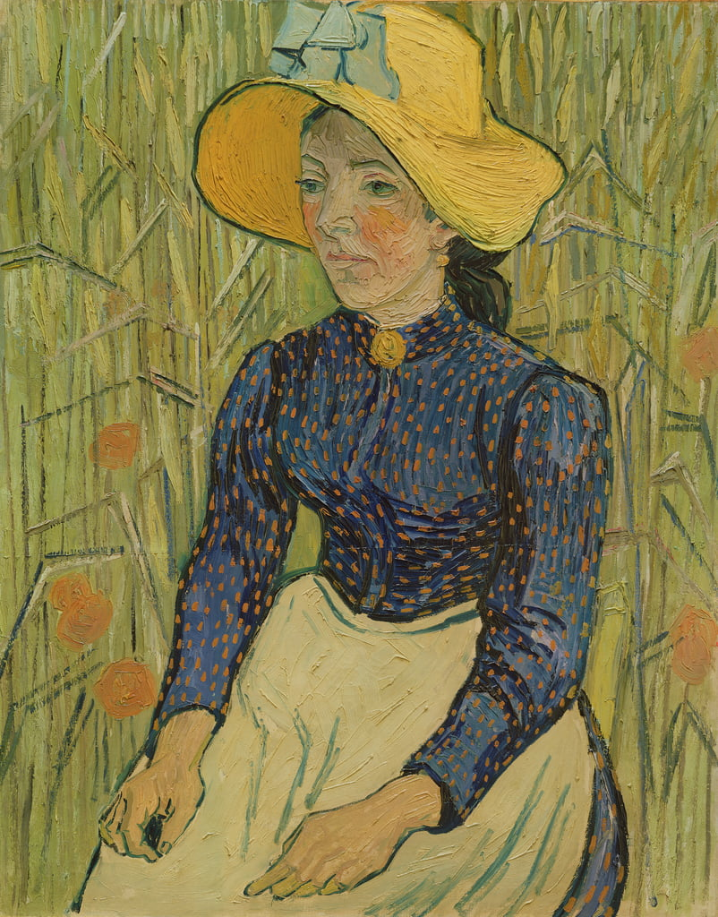 Peasant Girl in Straw Hat, 1890  by Vincent van Gogh