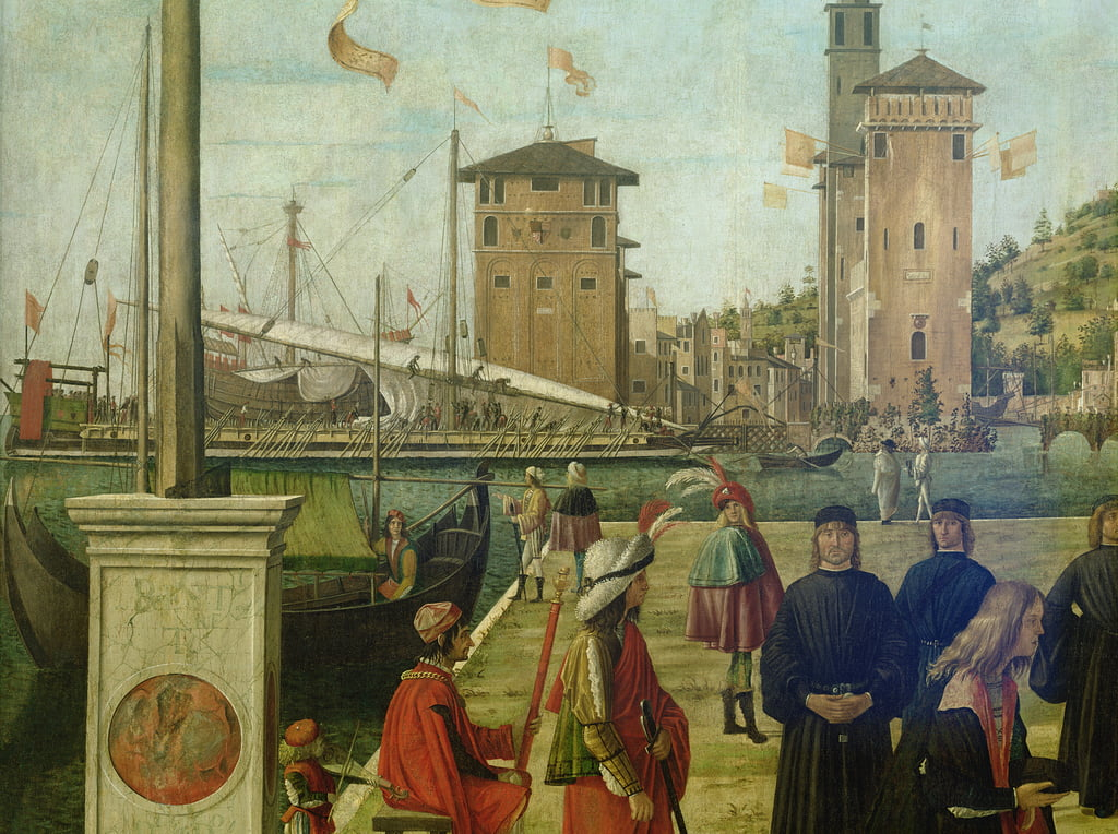 The Return of the Ambassadors, from the St. Ursula Cycle, 1490-94 detail of 51114 by Vittore Carpaccio