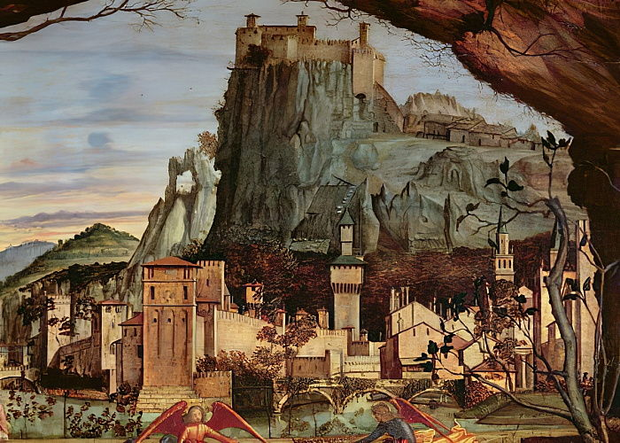 Sacre conversazione, detail of the town and castle in the background panel detail of 84002 by Vittore Carpaccio