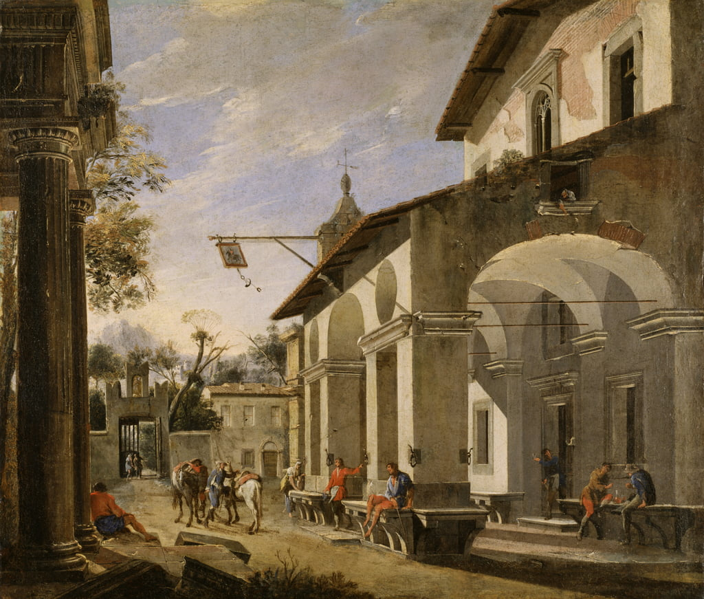 Courtyard of an Inn with Classical Ruins  by Viviano Codazzi
