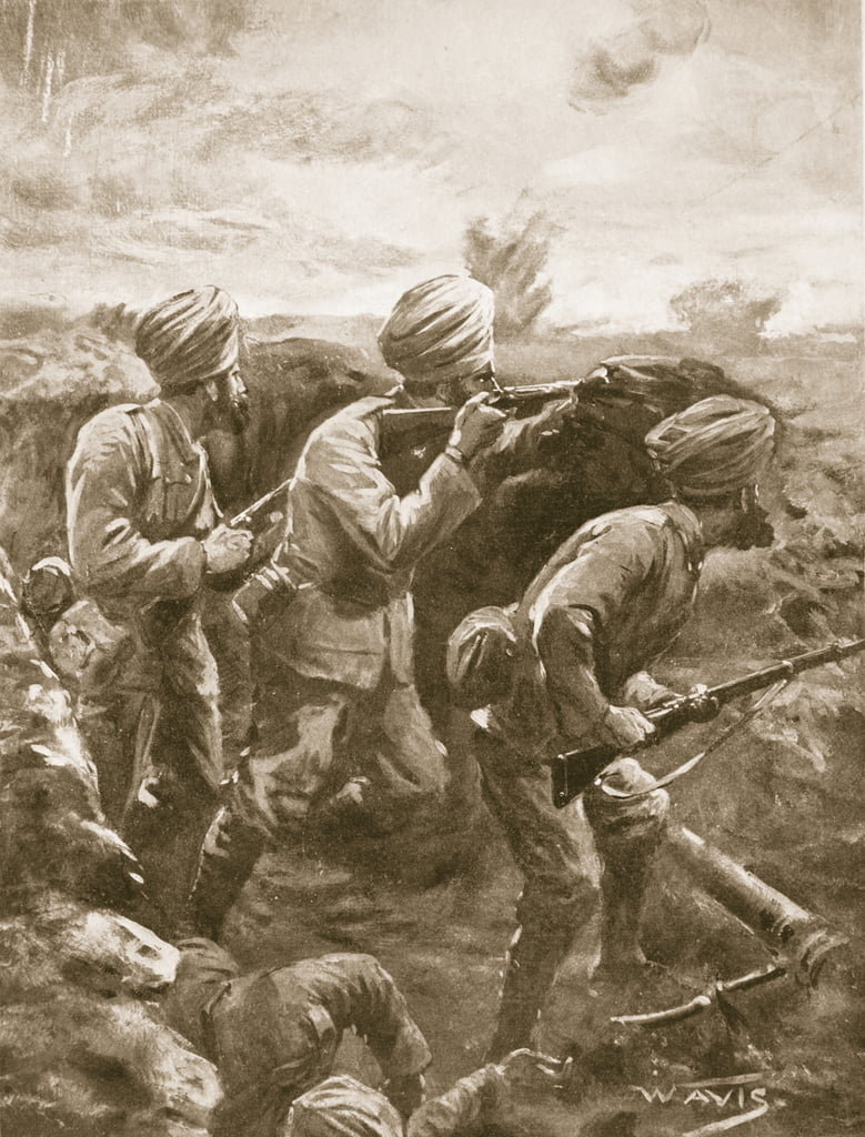 Naik Shahamad Khan, with two others, holding his ground after his machine-gun had been knocked out by shell-fire  by W. Avis