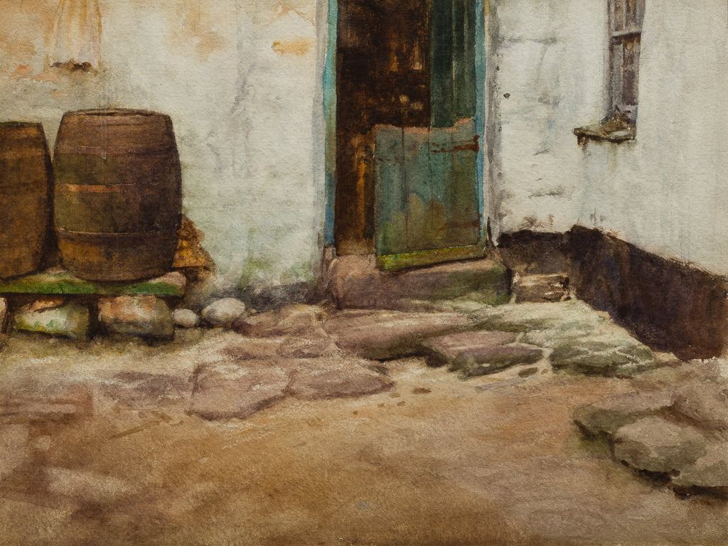 The Courtyard (wc on paper) by Walter Langley