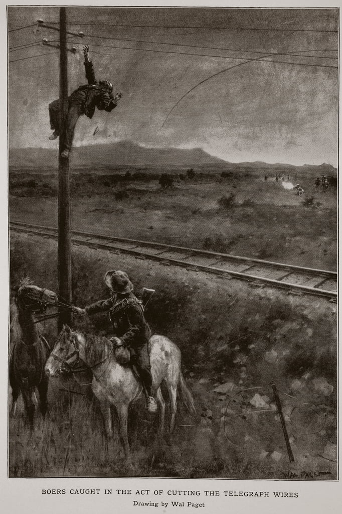Boers Caught in the act of cutting the telegraph wires  by Walter Stanley Paget