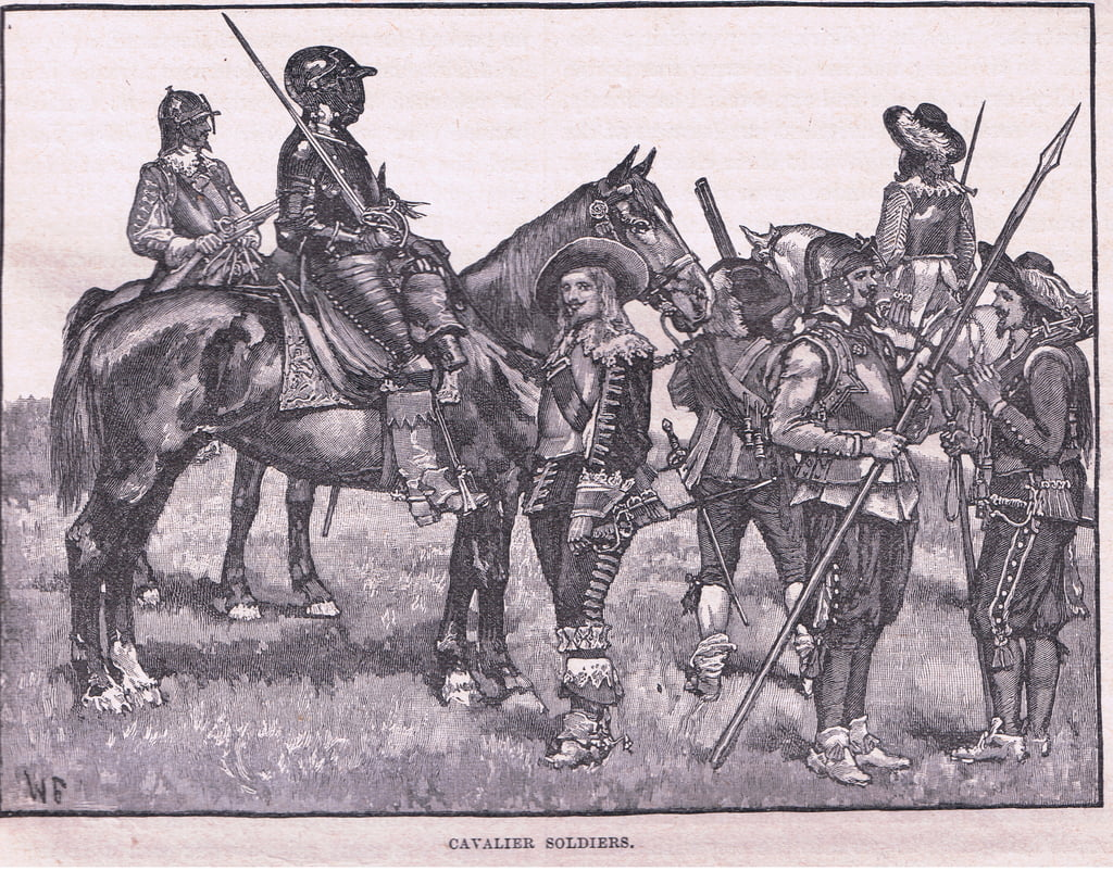 Cavalier soldiers AD 1645  by Walter Stanley Paget