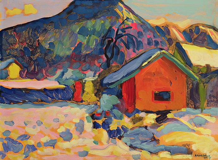 Winter Study with Mountain, 1908  by Wassily Kandinsky