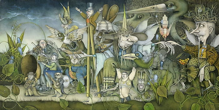 Fairy Procession (pencil and coloured crayon on paper) by Wayne Anderson