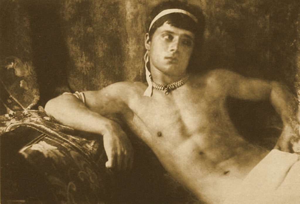 Study of a reclining boy wearing Jewelry. c.1899 (sepia photo) by Baron Wilhelm von Gloeden