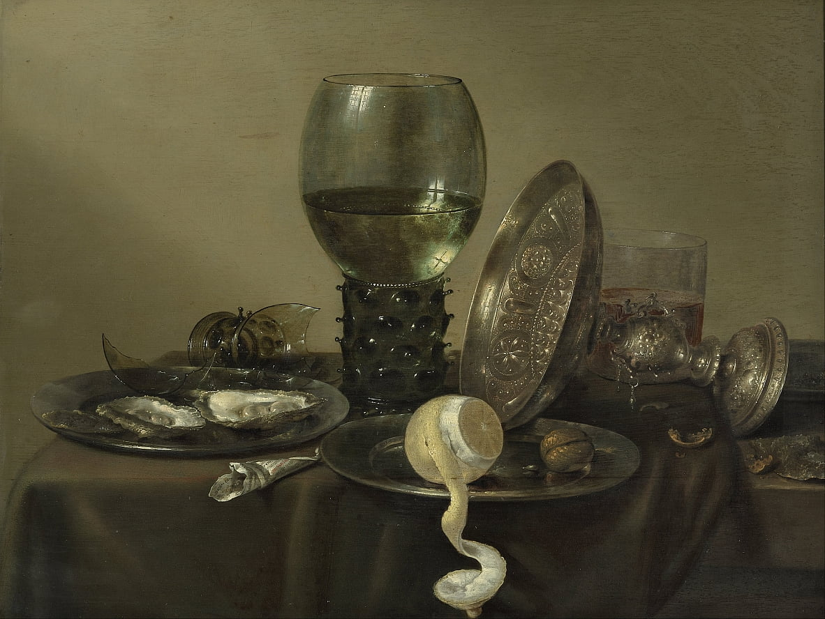 Still Life with Oysters, a Rummer, a Lemon and a Silver Bowl by Willem Claesz. Heda
