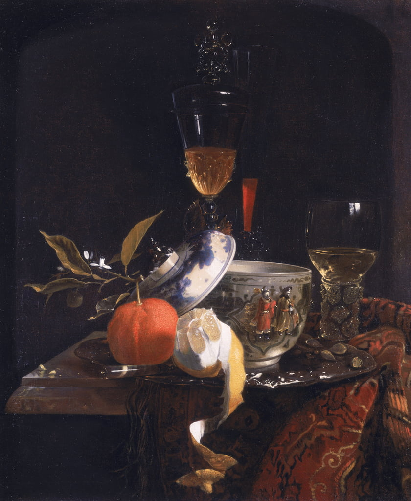 Still Life with Chinese Sugar Jar, Glass Goblet and Fruit  by Willem Kalf
