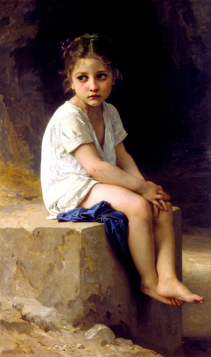 At the Foot of the Cliff by William Adolphe Bouguereau