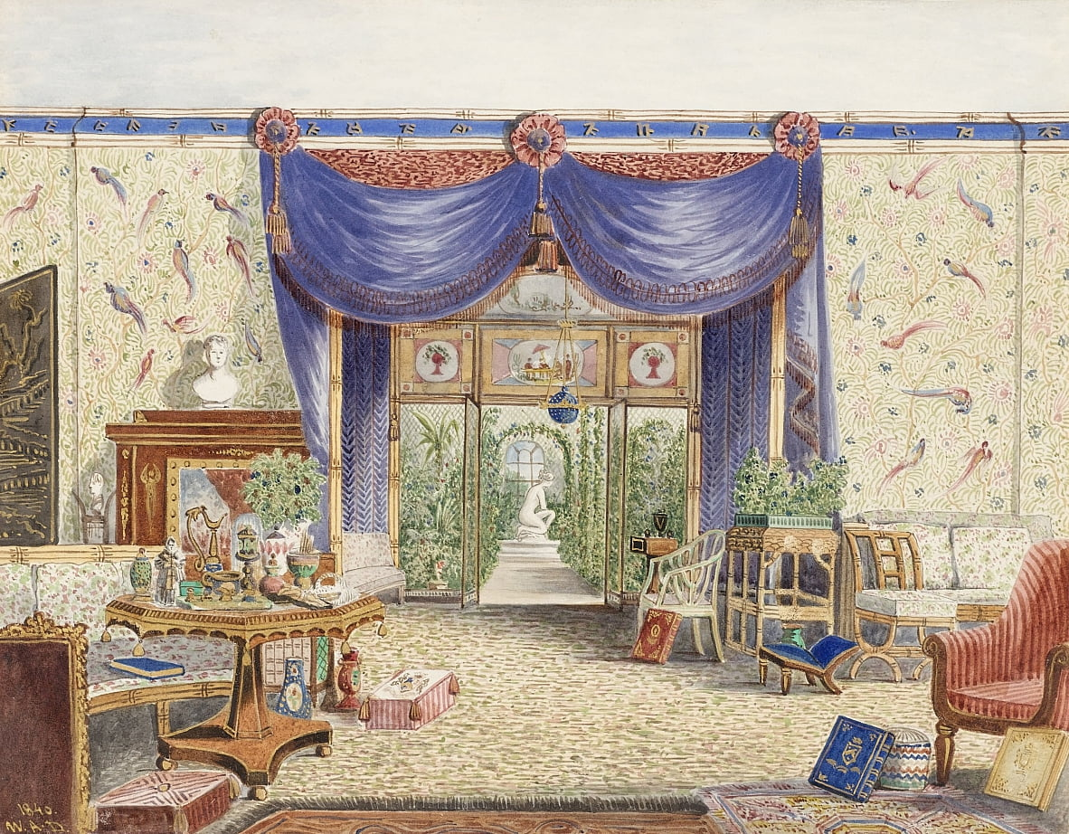 The Interior of the Chinese Room, Looking toward the Conservatory, Middleton Park, Oxfordshire by William Alfred Delamotte