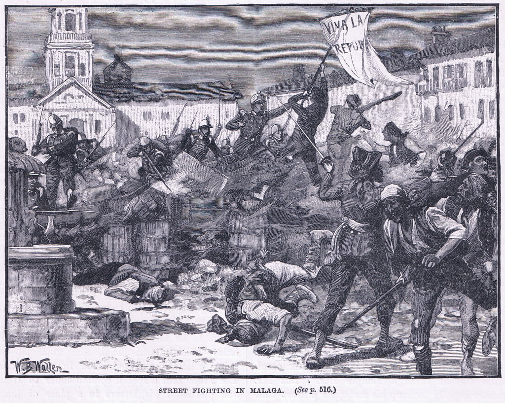 Street fighting in Malaga 1869 AD  by William Barnes Wollen