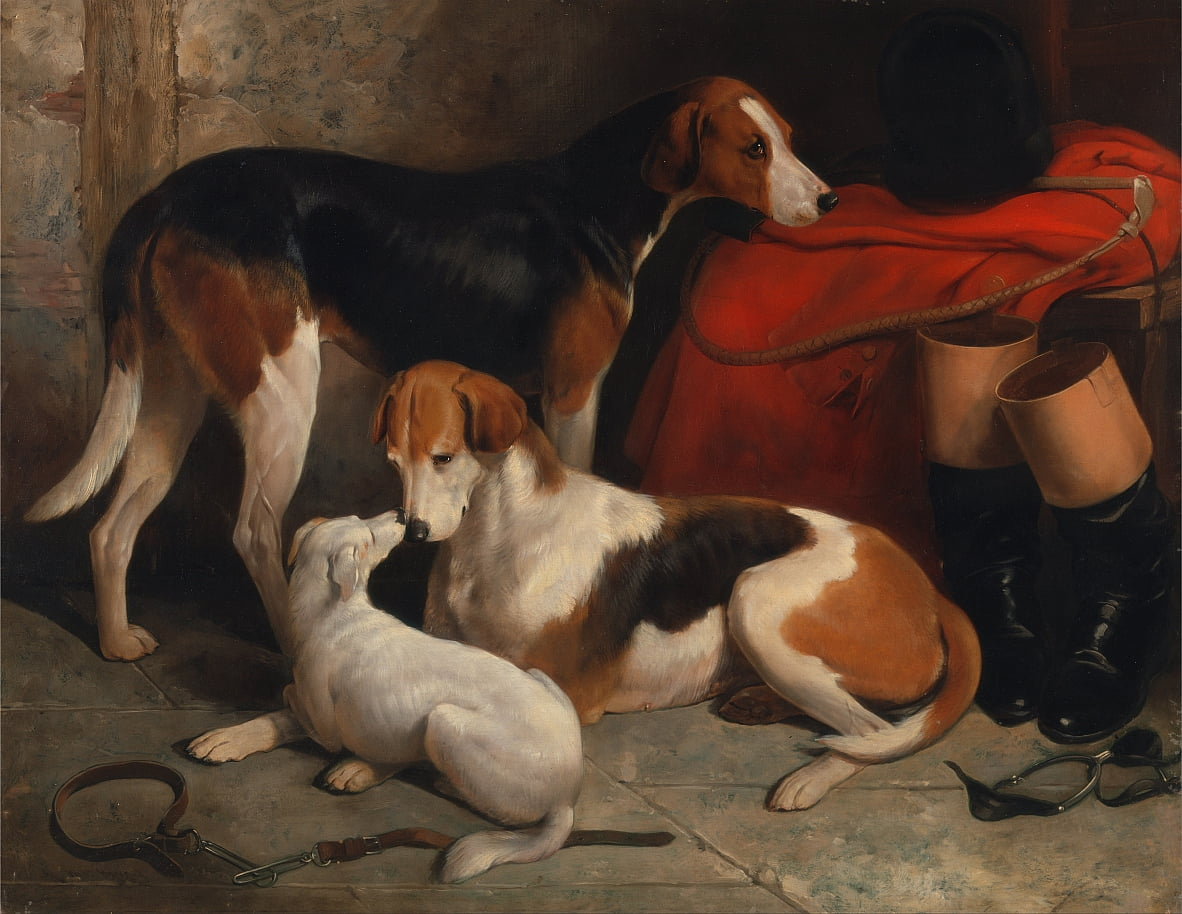 A Couple of Foxhounds with a Terrier, the property of Lord Henry Bentinck by William Barraud