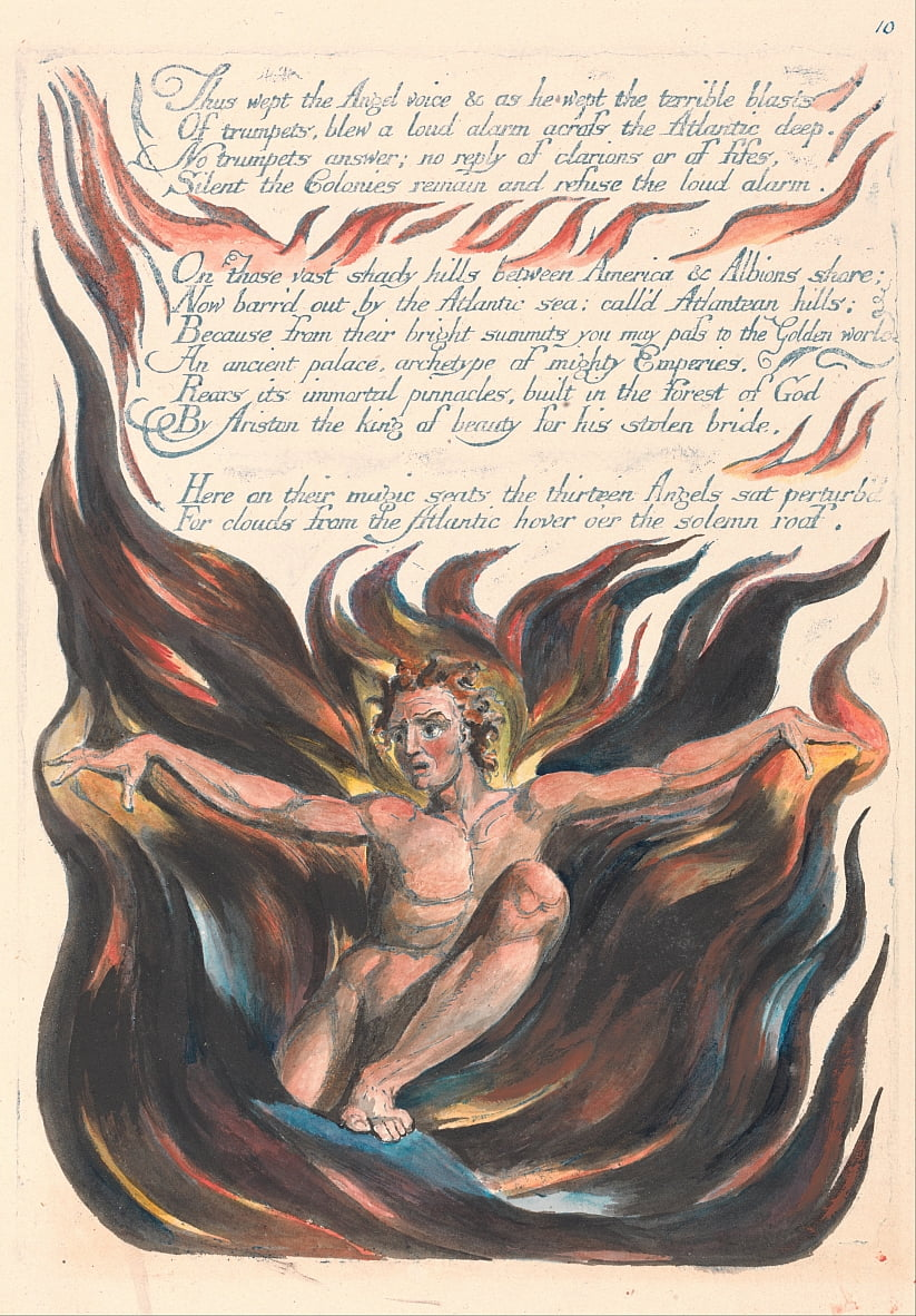 America. A Prophecy, Plate 12, Thus Wept the Angel Voice.... by William Blake