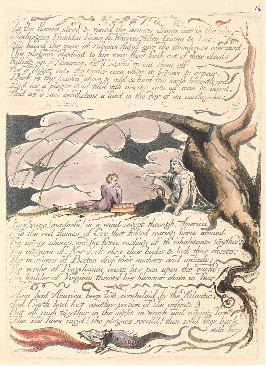 America. A Prophecy, Plate 16, In the Flames Stood.... by William Blake