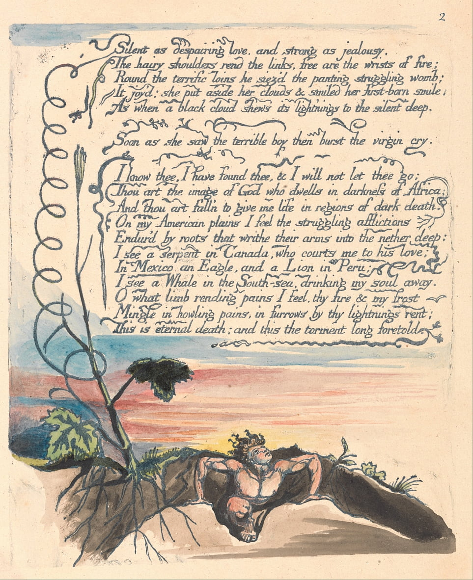 America. A Prophecy, Plate 4,  by William Blake