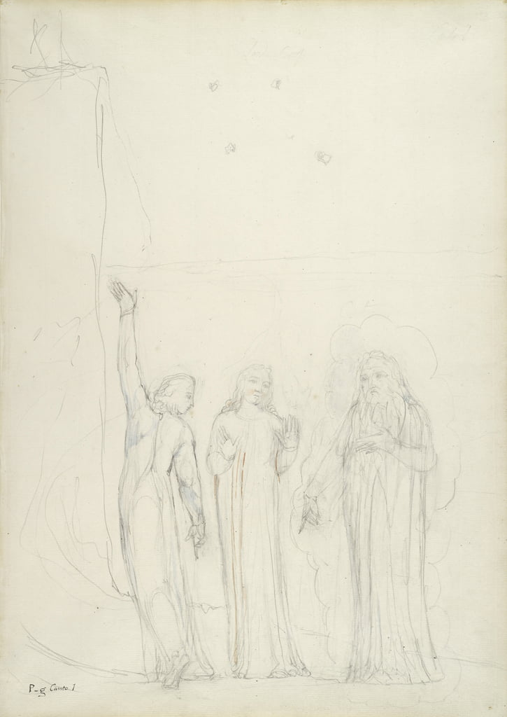 Dante, Virgil and Cato, illustration to the Divine Comedy by Dante Alighieri, 1824-27 (pencil with ink & wc on paper) by William Blake