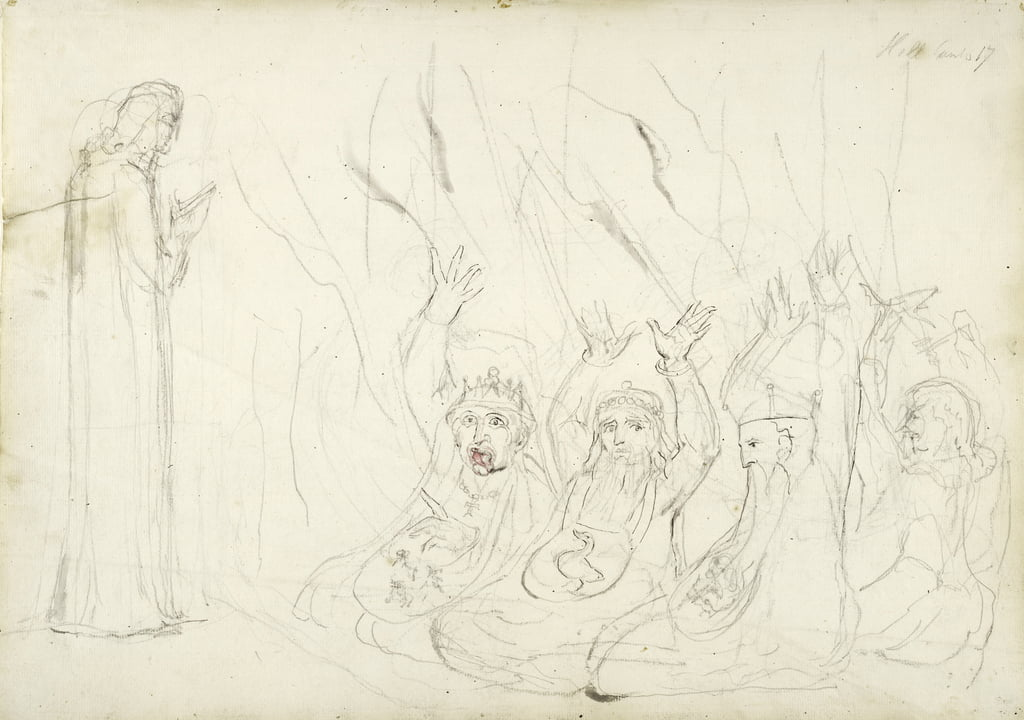 Dante and the Usurers, illustration to the Divine Comedy by Dante Alighieri, 1824-27 (pencil and wash on paper) by William Blake