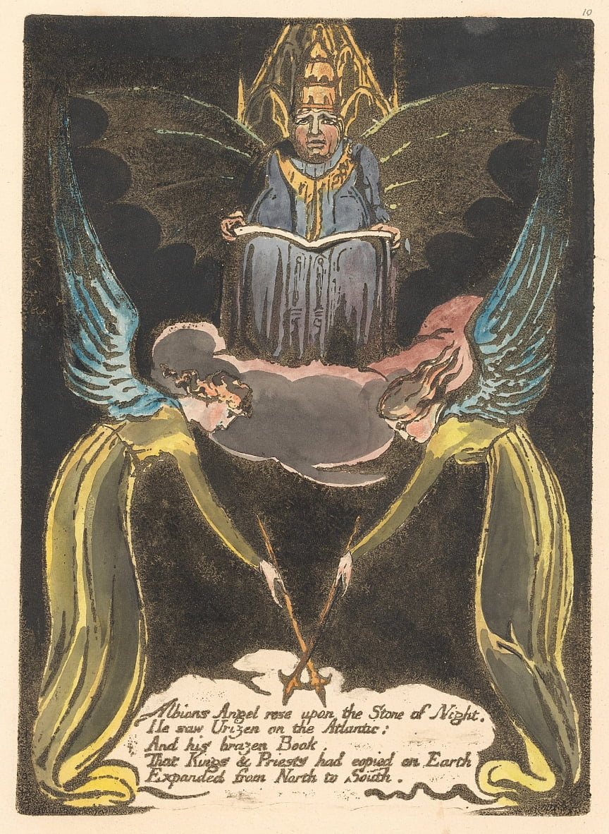 Europe. A Prophecy, Plate 12, Albions Angel rose . . . .  (Bentley 14) by William Blake