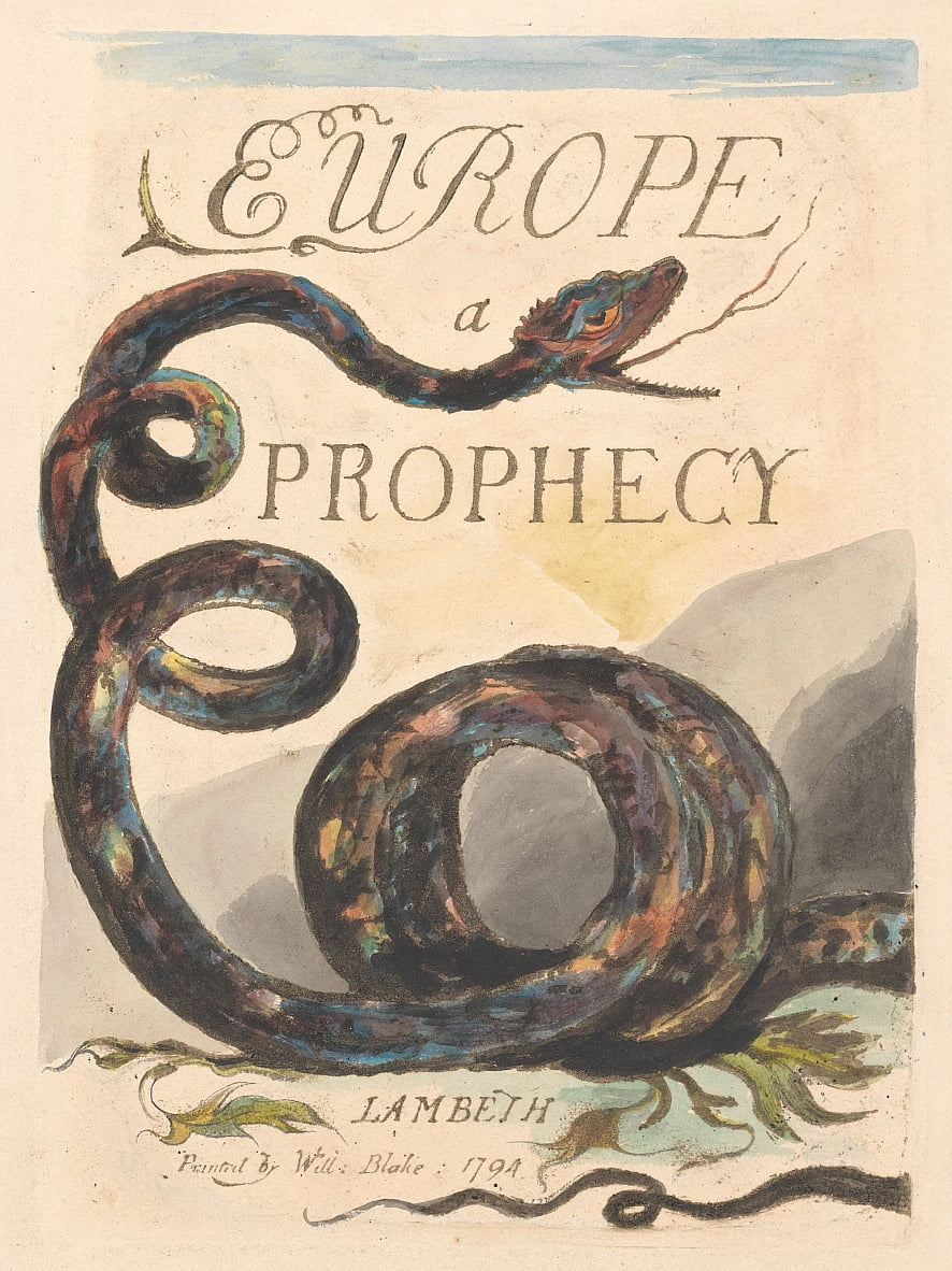 Europe. A Prophecy, Plate 2, Title Page by William Blake