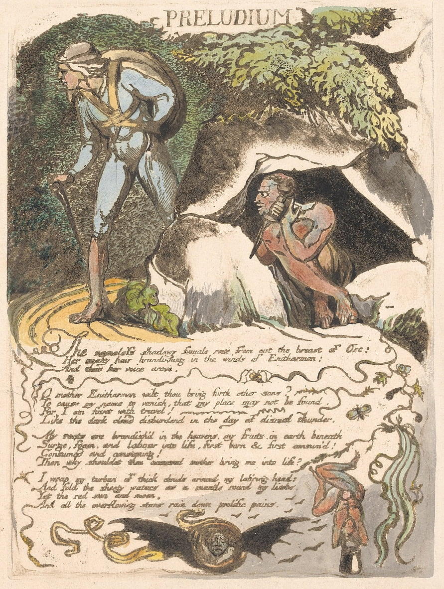Europe. A Prophecy, Plate 3, Preludium by William Blake