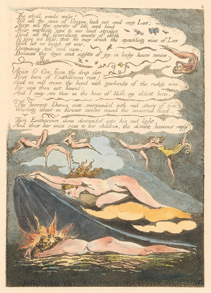 Europe. A Prophecy, Plate 6, The shrill winds wake . . . .  (Bentley 7) by William Blake