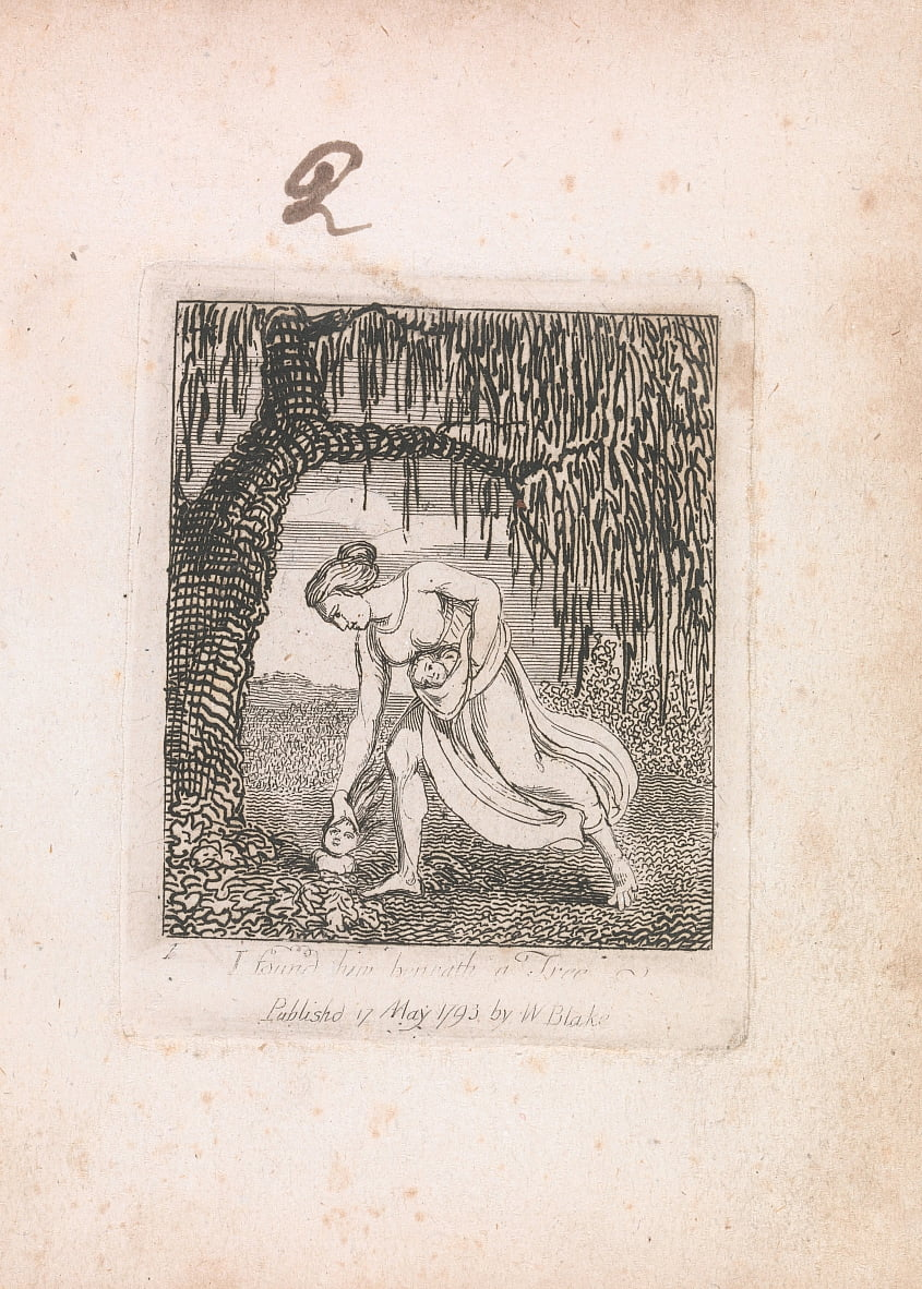 For Children. The Gates of Paradise, Plate 3, I found him beneath a Tree by William Blake
