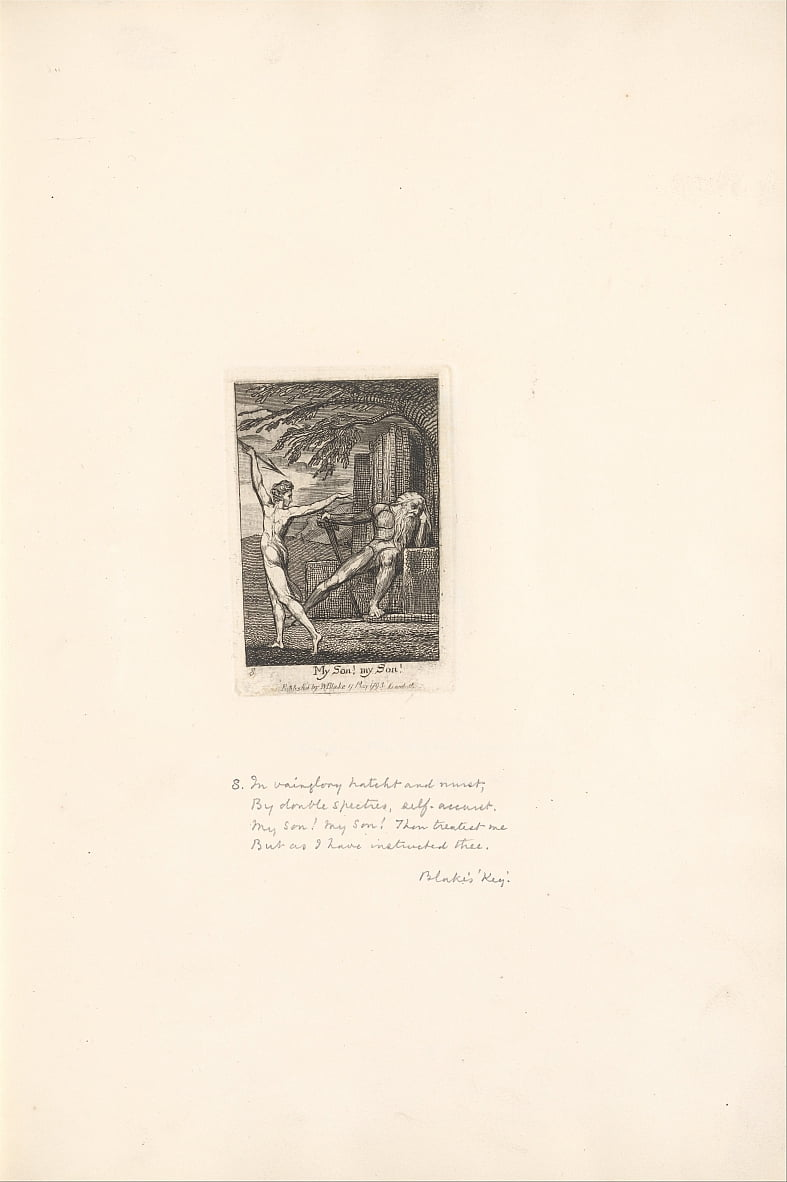 For the Sexes- The Gates of Paradise, Plate 10, My son! my Son! by William Blake
