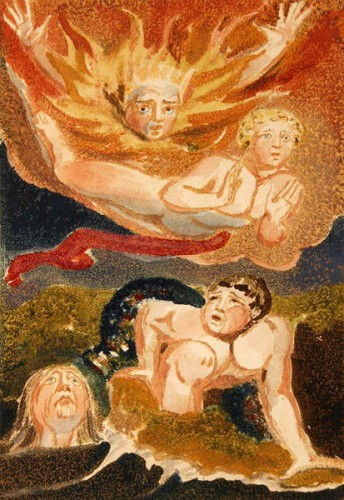 Four naked men emerging from their elements: flames, sky, sea and green earth, plate 22 from The First Book of Urizen, 1794 (relief etching with wc) by William Blake