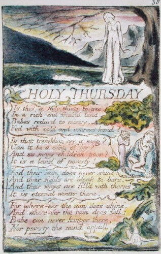 Holy Thursday, plate 38 (Bentley 33) from Songs of Innocence and of Experience (Bentley Copy L) 1789-94 (relief etching with pen & wc) by William Blake