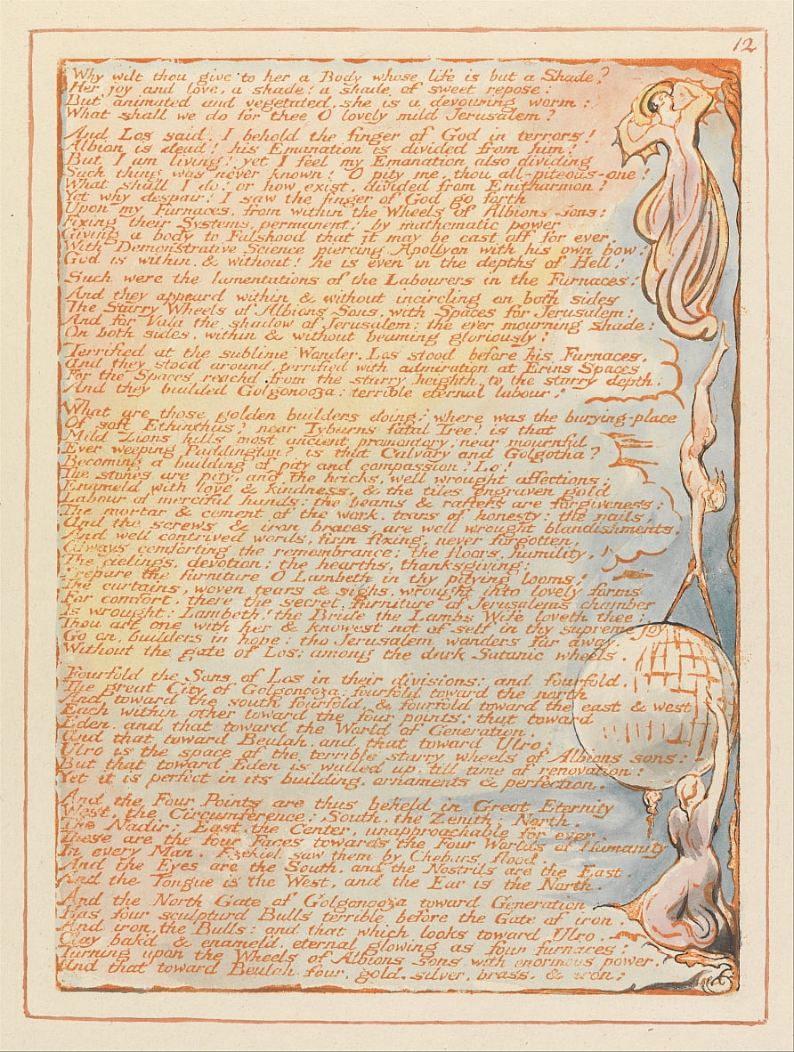 Jerusalem, Plate 12, Why wilt thou give to her.... by William Blake