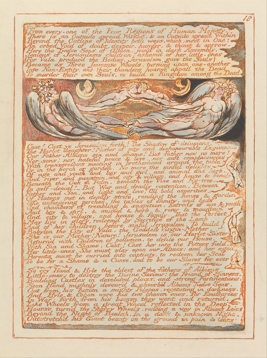 Jerusalem, Plate 18, From every-one of the Four Regions.... by William Blake