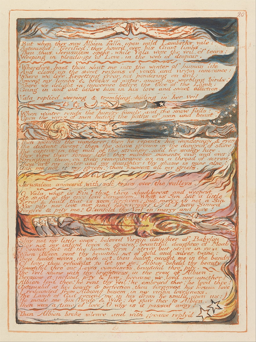 Jerusalem, Plate 20, But when they saw Albion.... by William Blake