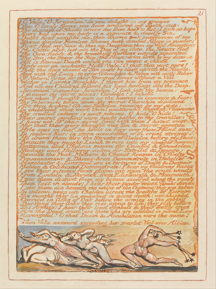 Jerusalem, Plate 21, O Vala! O Jerusalem.... by William Blake