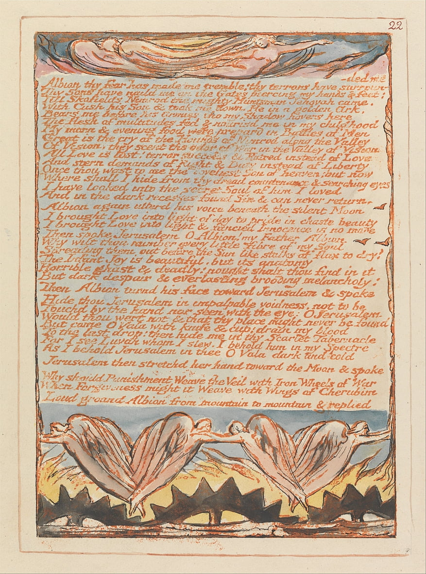 Jerusalem, Plate 22, Albion thy Fear has made me tremble.... by William Blake