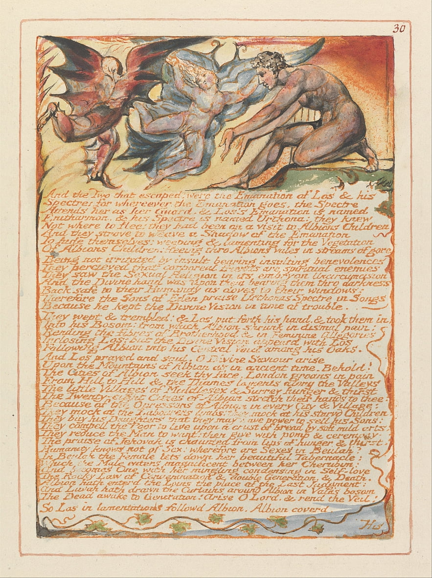 Jerusalem, Plate 30, And the Two that escaped.... by William Blake