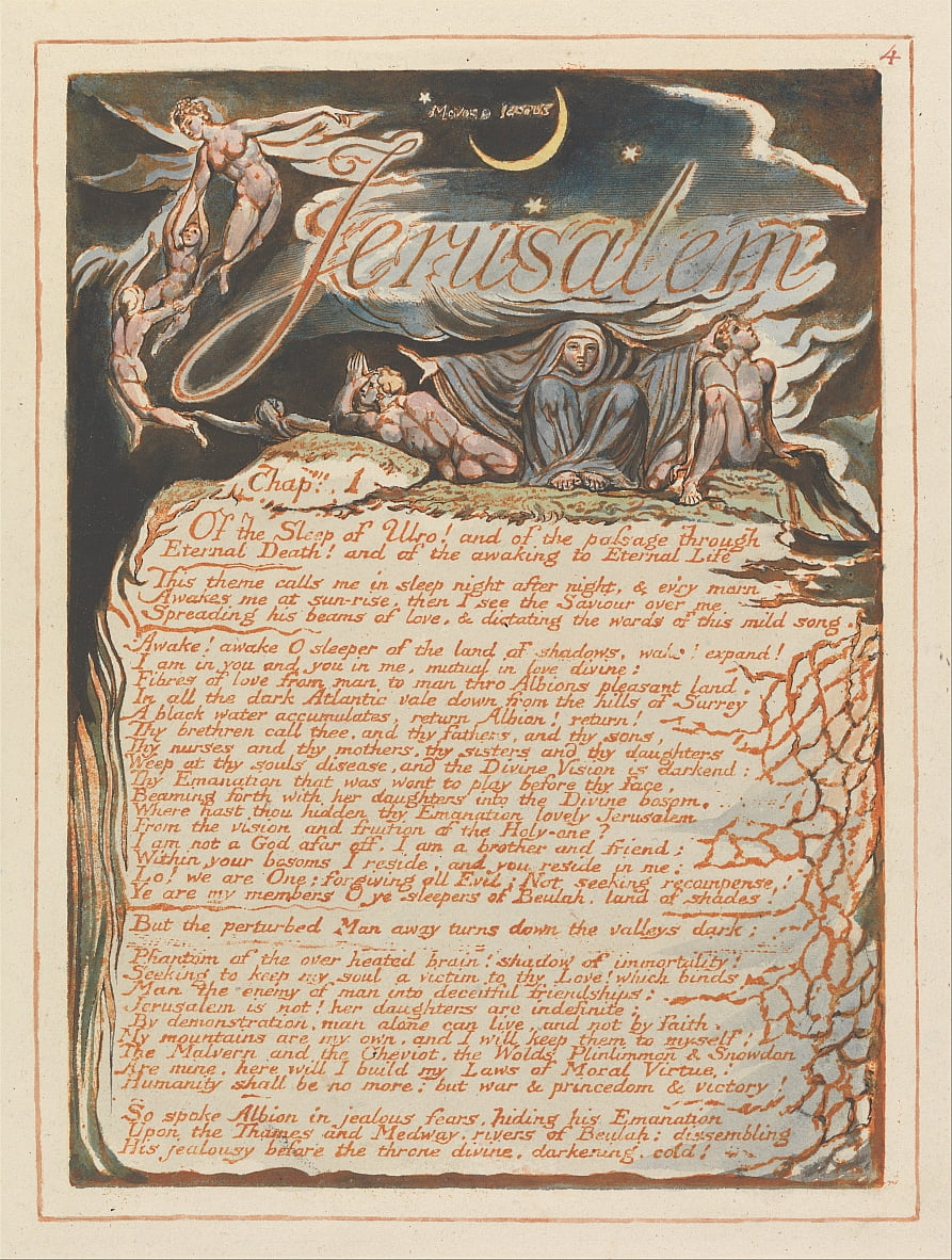 Jerusalem, Plate 4, Jerusalem , Chap. 1.... by William Blake