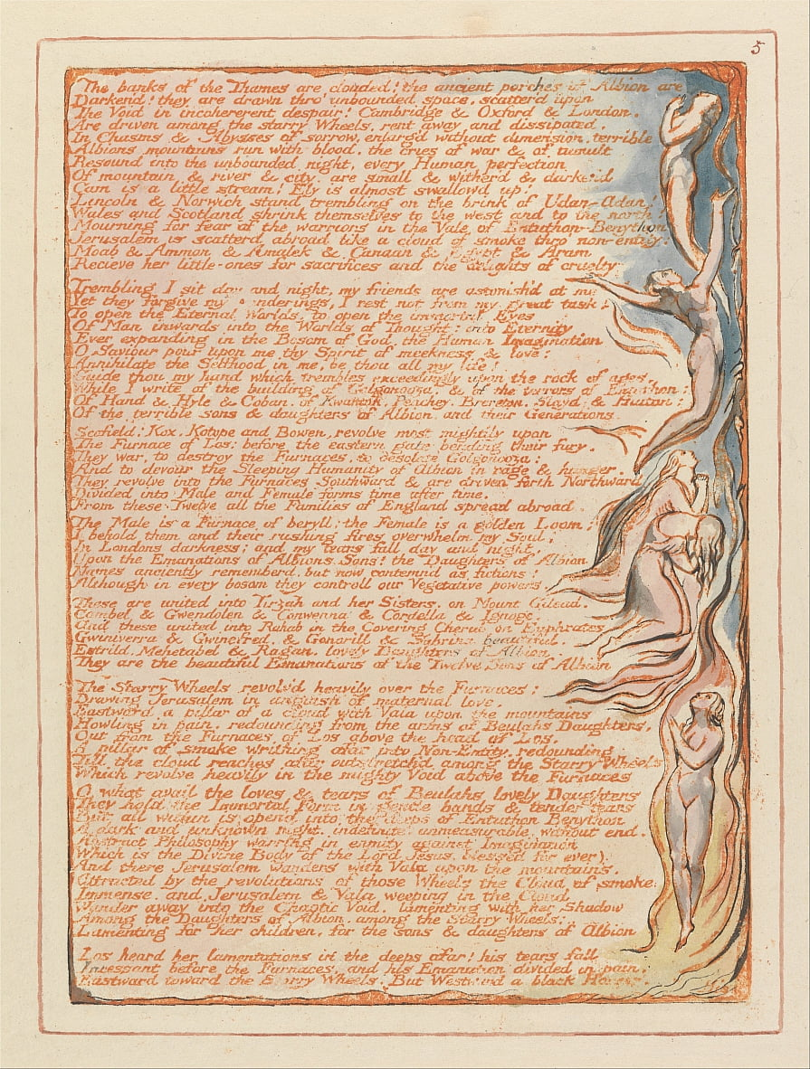 Jerusalem, Plate 5, The banks of the Thames.... by William Blake