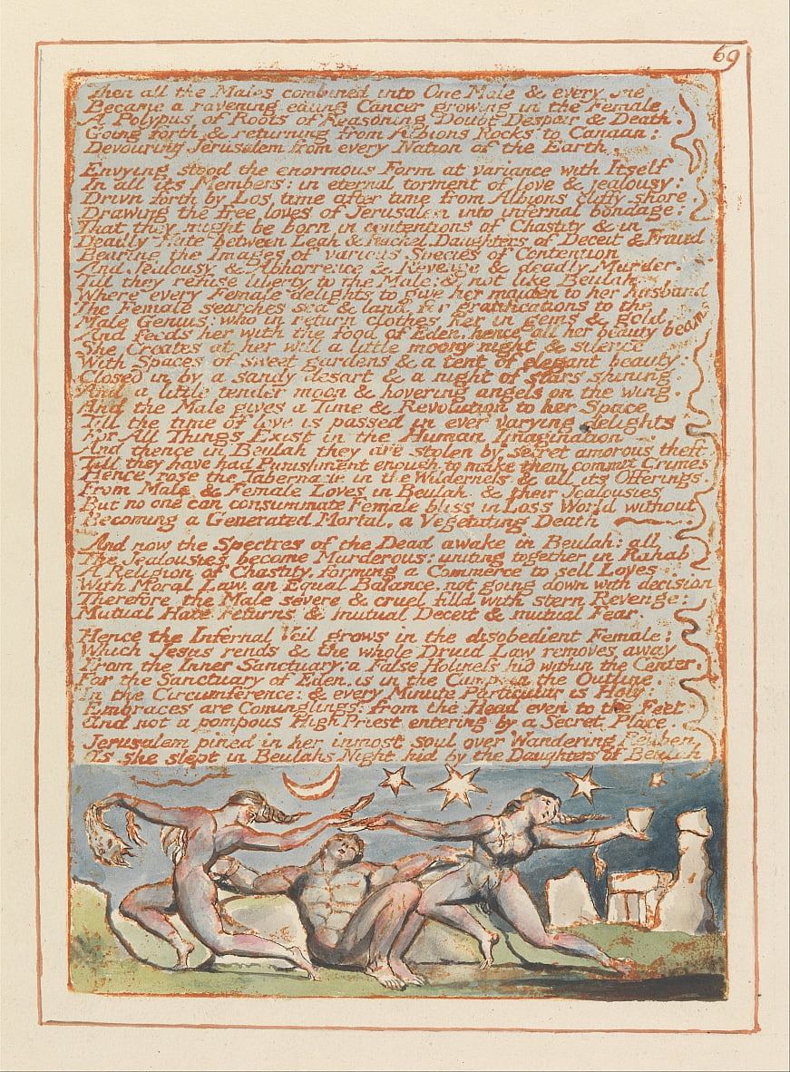 Jerusalem, Plate 69, Then all the Males.... by William Blake