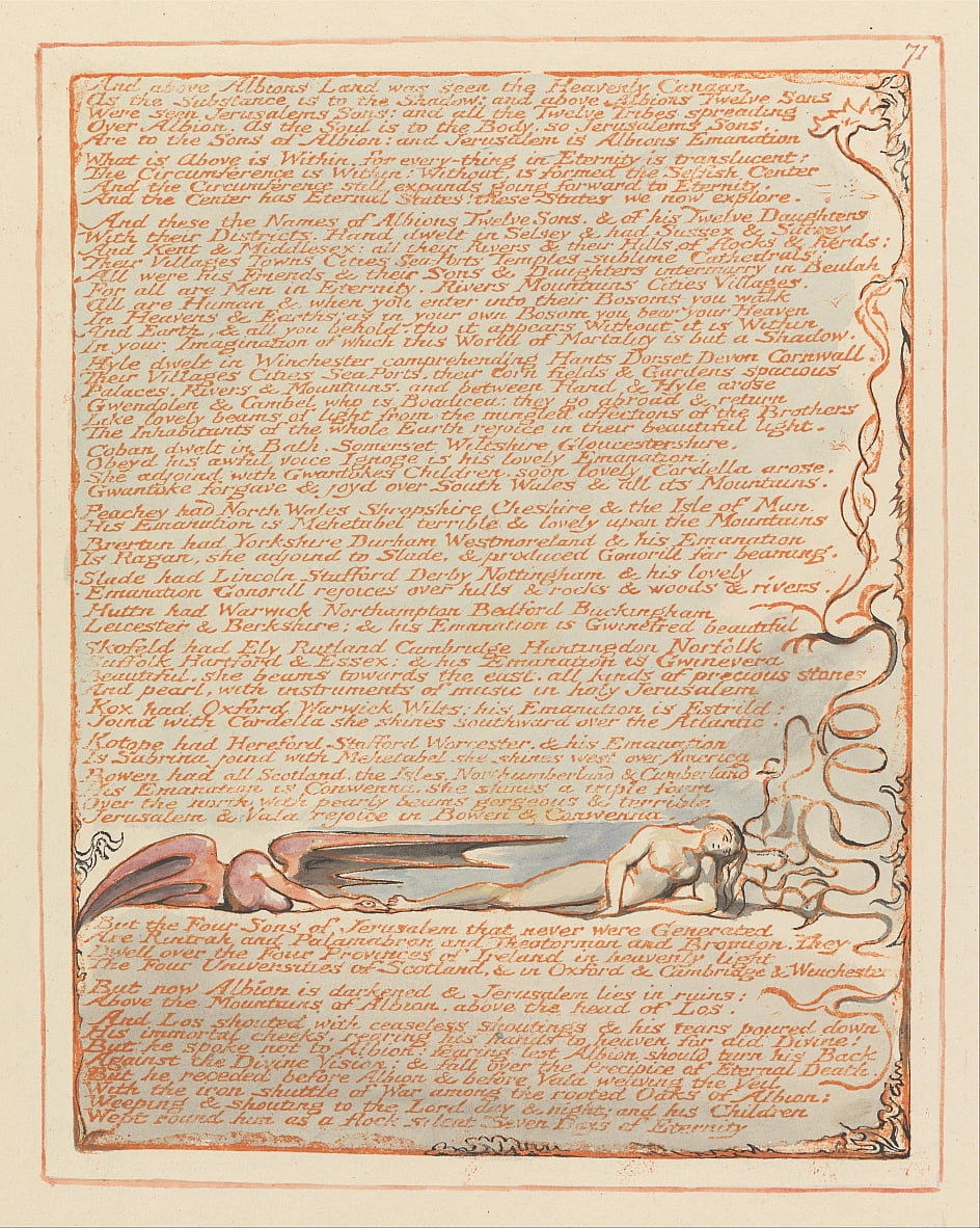 Jerusalem, Plate 71, And above Albions Land.... by William Blake