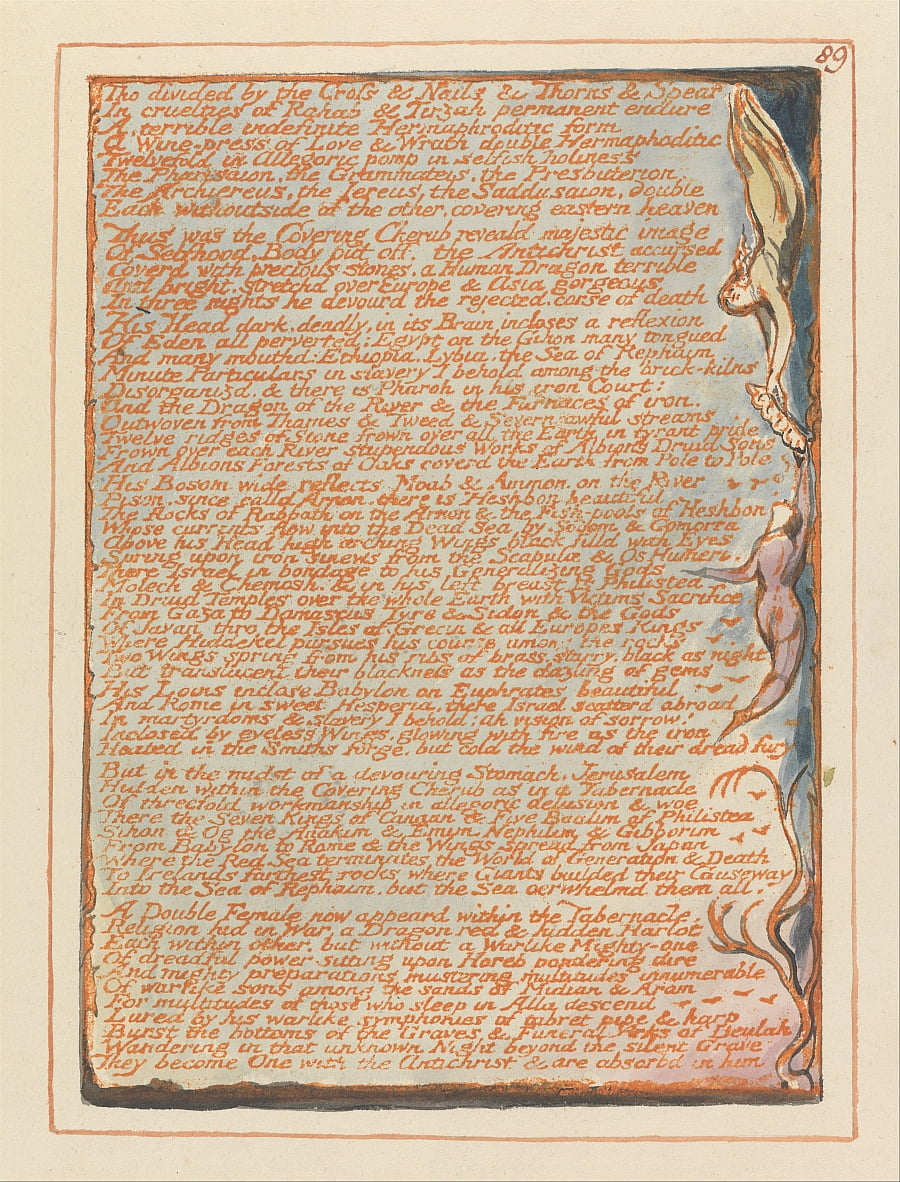 Jerusalem, Plate 89, Tho divided by the Cross.... by William Blake