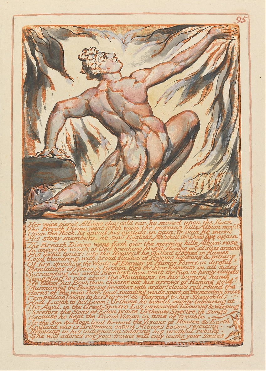 Jerusalem, Plate 95, Her voice piercd Albions clay cold ear.... by William Blake
