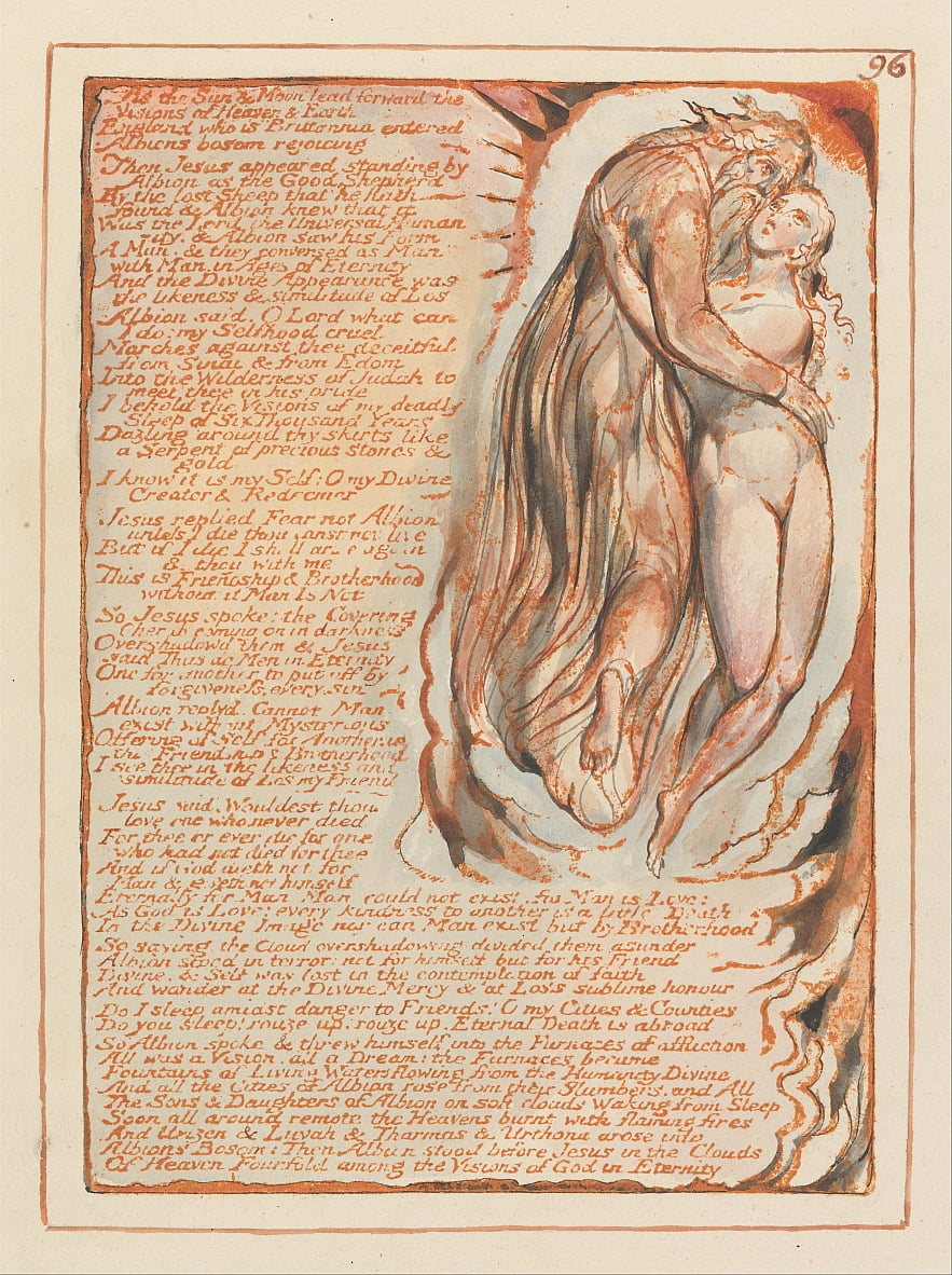 Jerusalem, Plate 96, As the Sun und Moon lead forward.... by William Blake