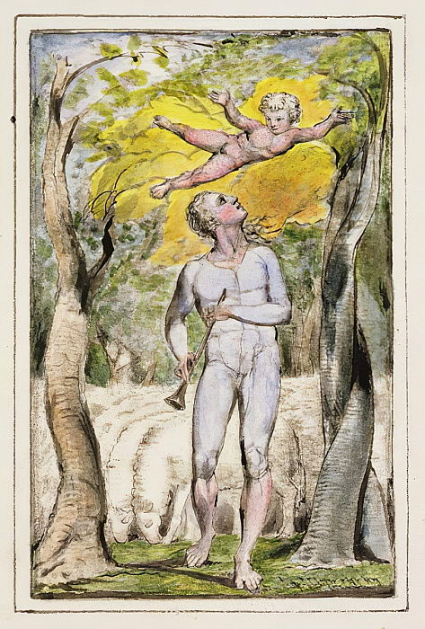 P.124-1950.ptl Frontispiece to Songs of Innocence: plate 1 from Songs of Innocence and of Experience (copy R) c.1802-08 (etching, ink and wc) by William Blake