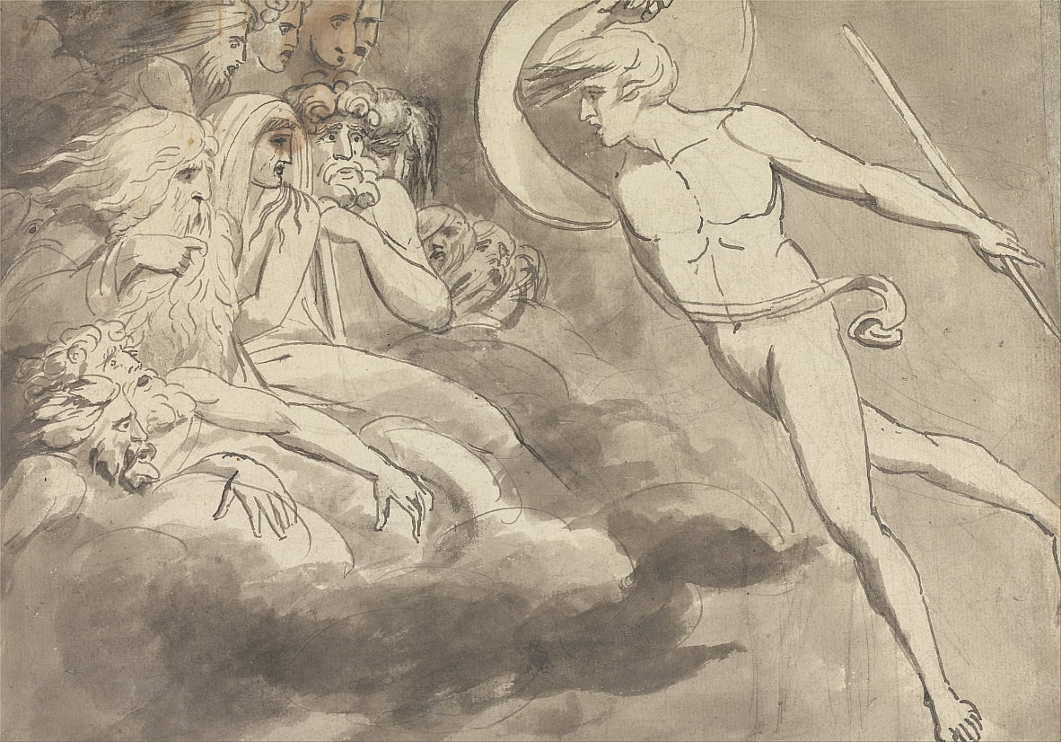 Satan Approaching the Court of Chaos by William Blake