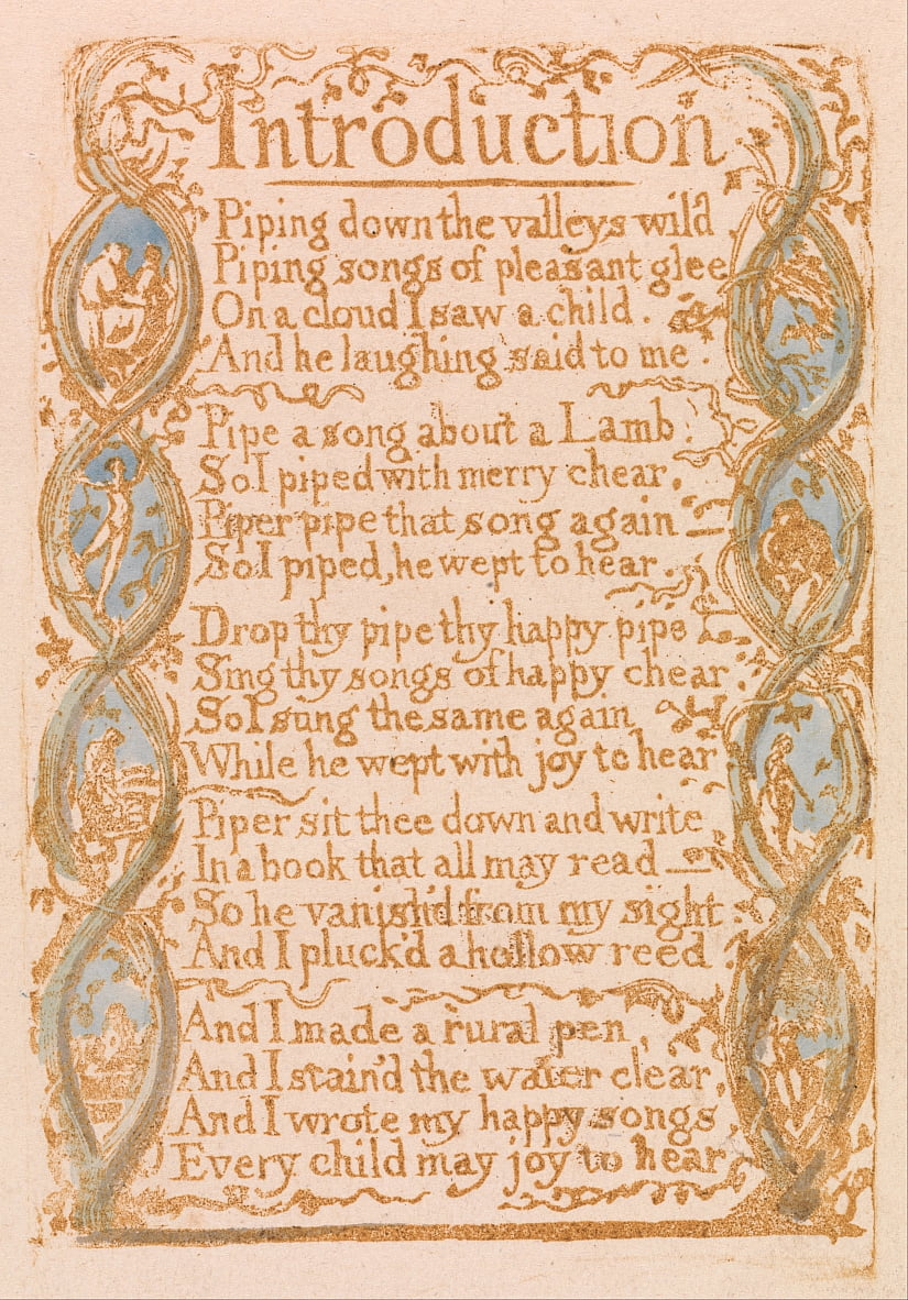 Songs of Innocence, Plate 3, Introduction (Bentley 4) by William Blake