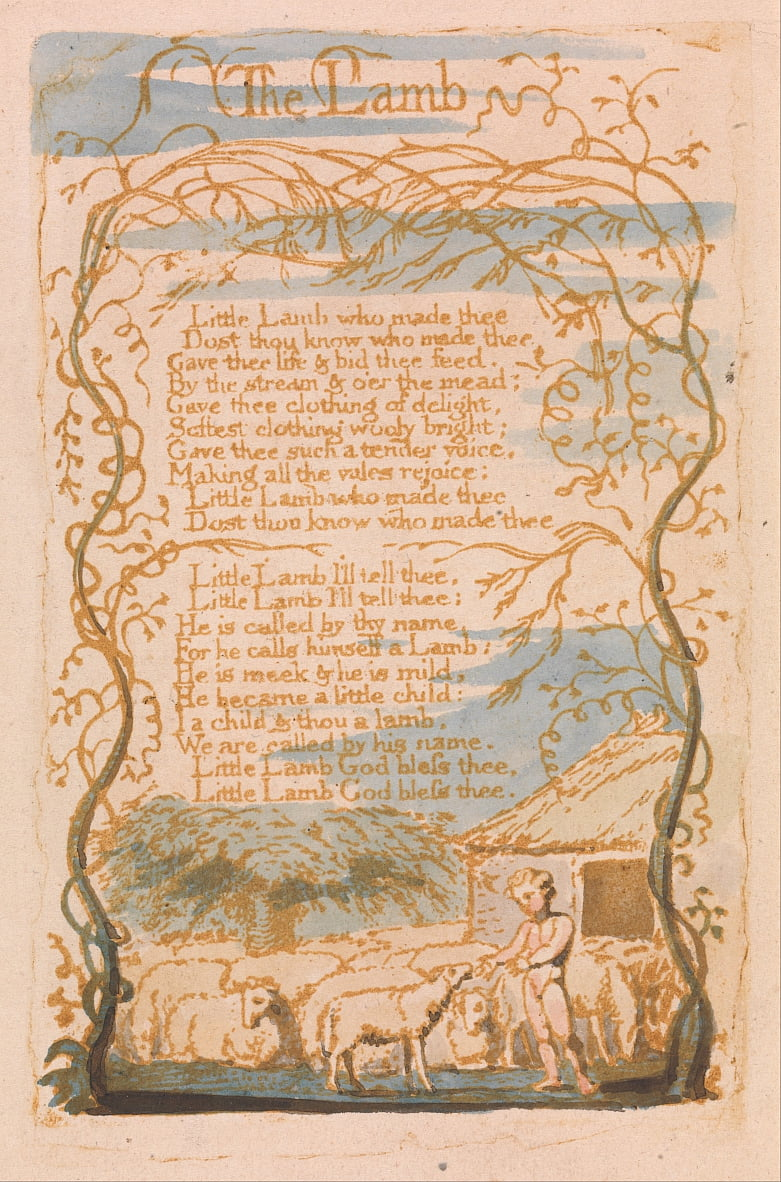 Songs of Innocence, Plate 8, The Lamb (Bentley 8) by William Blake