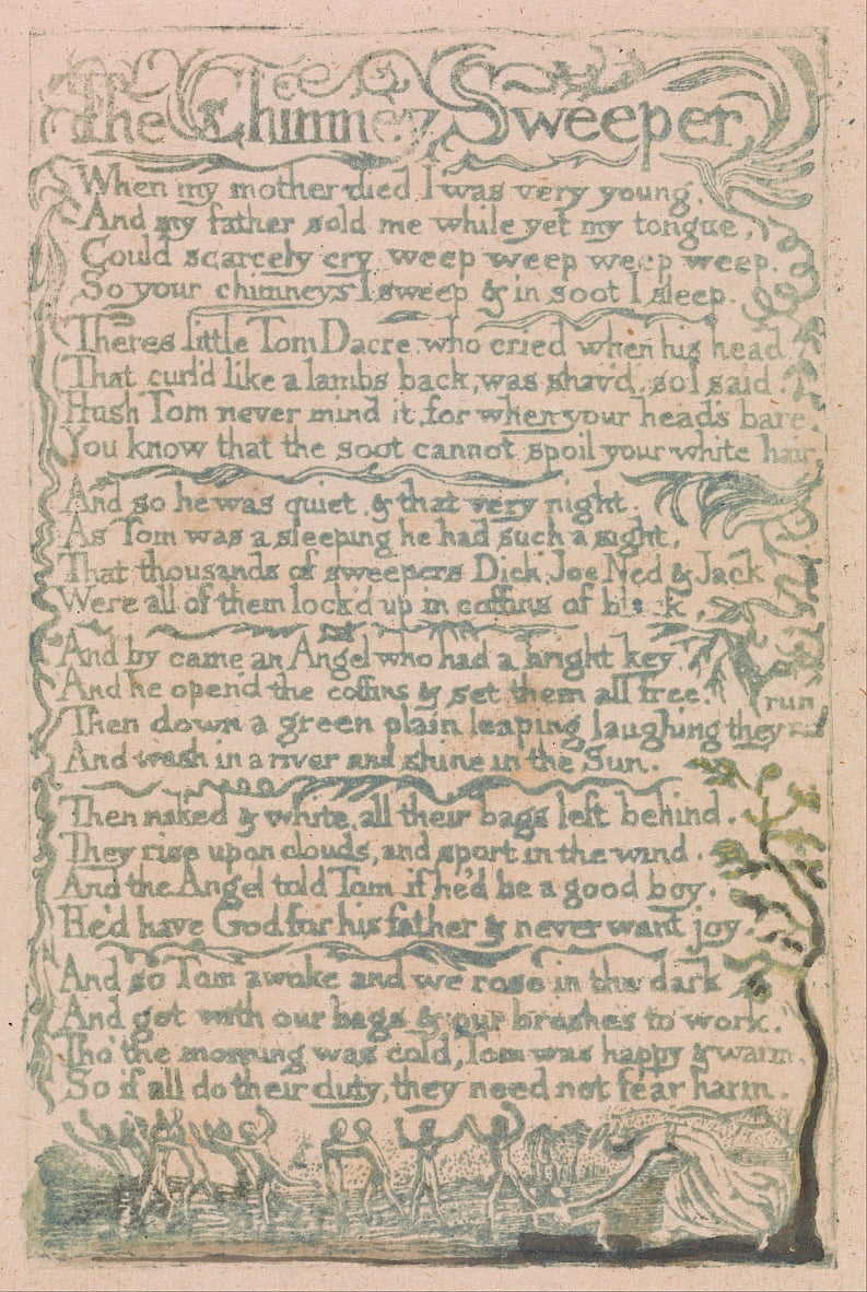 Songs of Innocence and of Experience, Plate 10, The Chimney Sweeper (Bentley 12) by William Blake