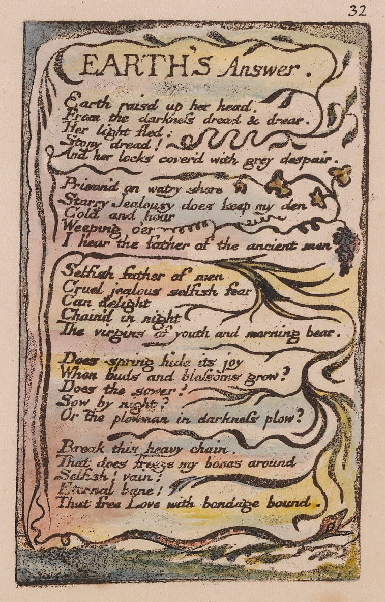 Songs of Innocence and of Experience, Plate 32, Earths Answer (Bentley 31) by William Blake